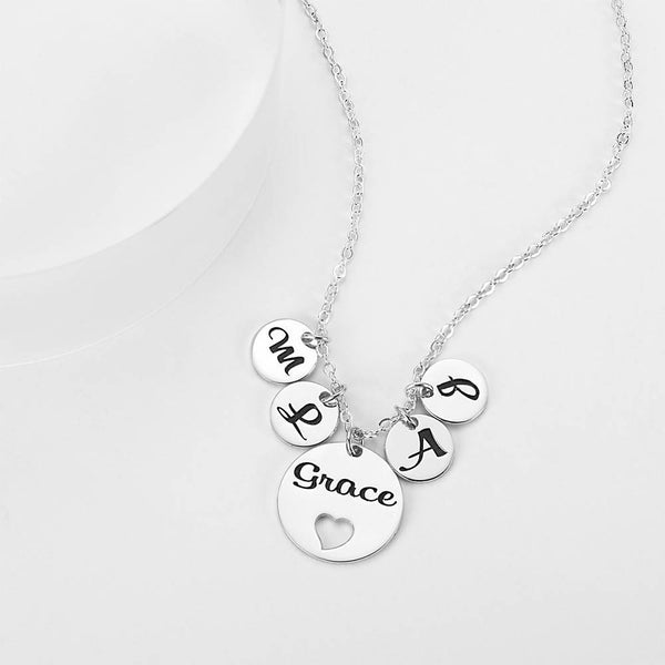 Four Initial Letters with Hollow Heart Engraved Necklace Silver Plated