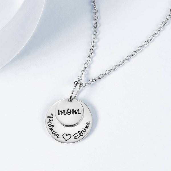 Custom Disc Engraved Necklace Gift Silver