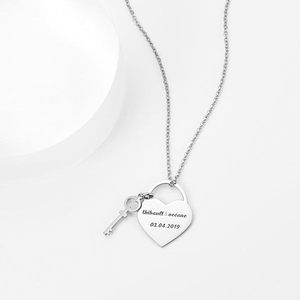 Personalized Engraved Necklace Heart Lock and Key in Silver