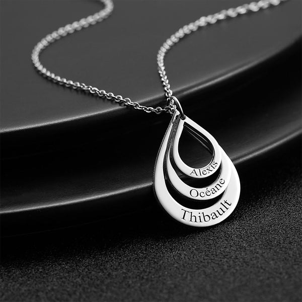 Personalized Engraved Necklace Drop Shaped Family Necklace in Silver