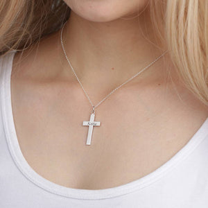 Personality Engraved Necklace Cross Necklace Platinum Plated