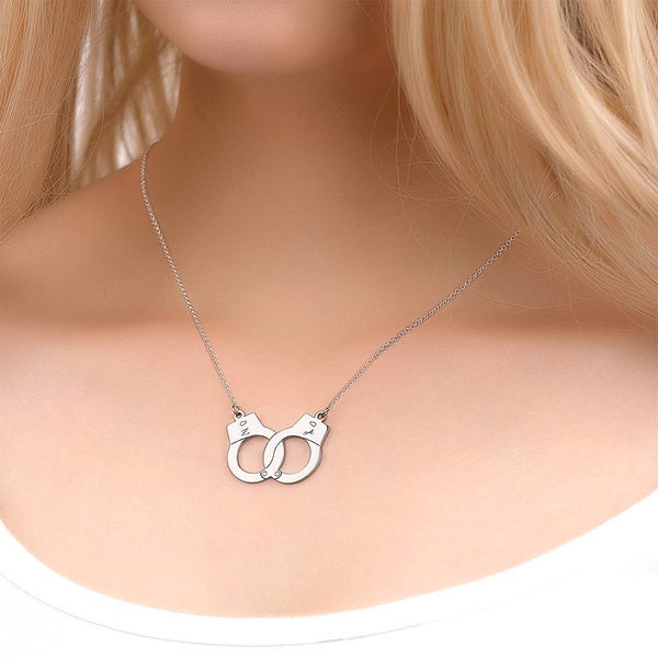 Creative Handcuffs engraved necklace Platinum Plated