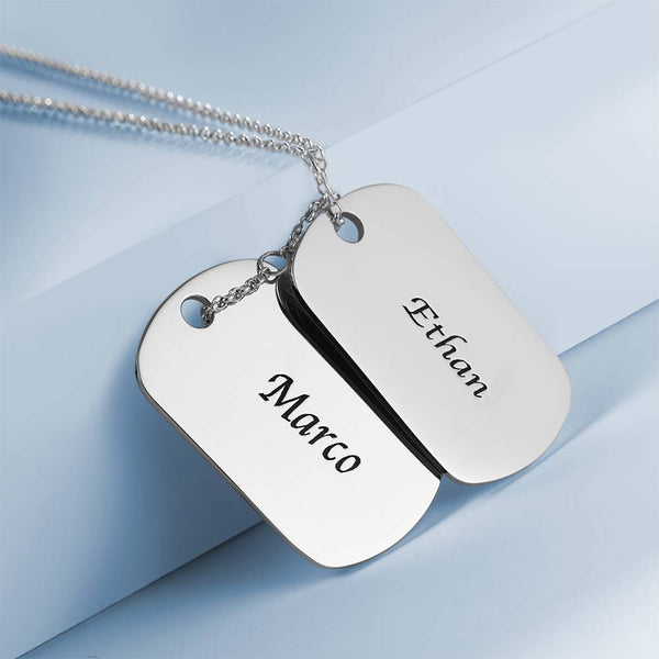 Personality Engraved Two Dog Tag Necklace Platinum Plated