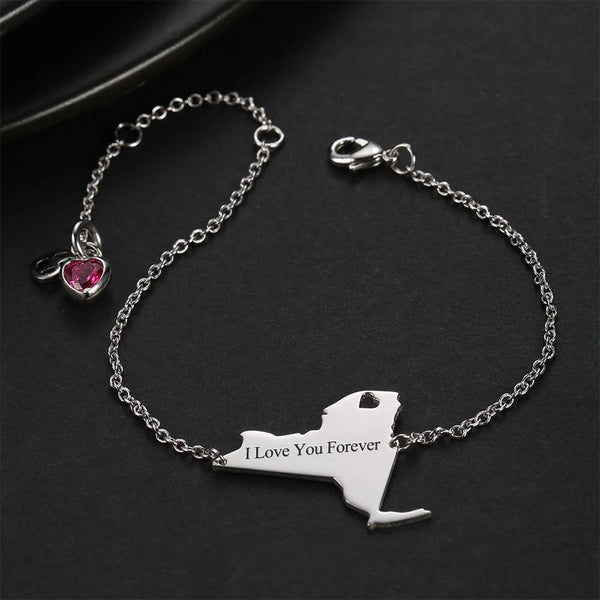 U.S. State Engraved Bracelet with Custom Birthstone Silver Plated