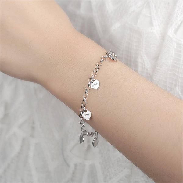 Women's Heart Shape Engraved Tag Bracelet With Engraving Copper in Silver