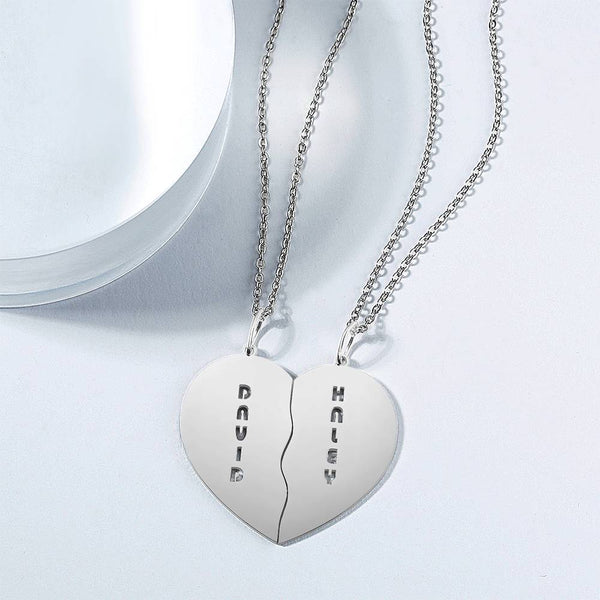 Personalized Heart Shape Couples Name Necklace Silver