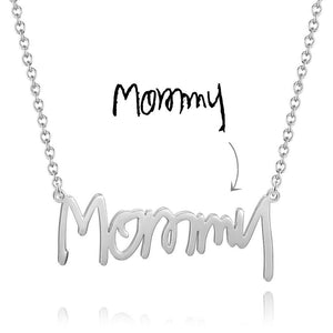 Personalized Handwriting Name Necklace Platinum Plated Silver