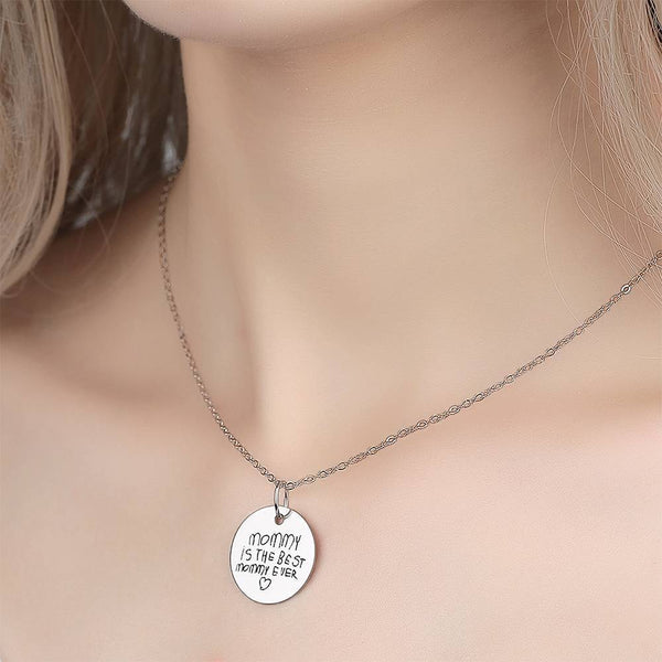 Custom Actual Handwriting Engraved Disc Necklace Copper in Silver