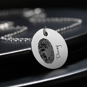 Custom Actual Fingerprint Handwriting Photo Necklace Copper in Silver