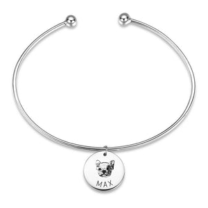 Portrait Photo Bangle with Engraving Round Shape Silver Plated