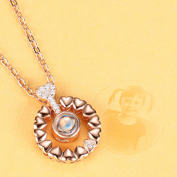 Personalized Projection Round Photo Necklace - Rose Gold