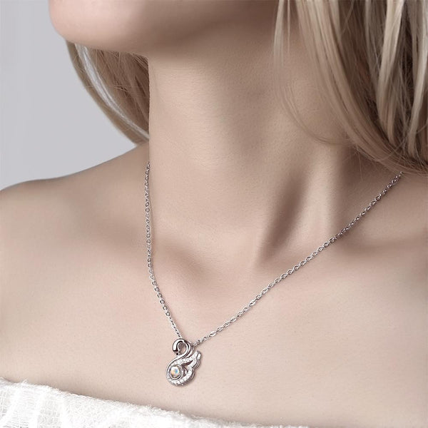 Personalized Projection Swan Crystal Photo Necklace - Silver