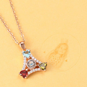 Personalized Projection Sector Three Colors Crystal Photo Necklace - Rose Gold