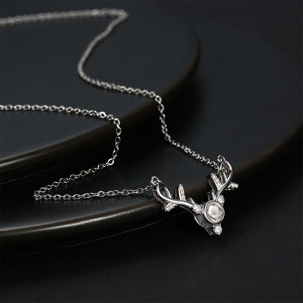 Personalized Projection Photo Antlers Necklace - Silver