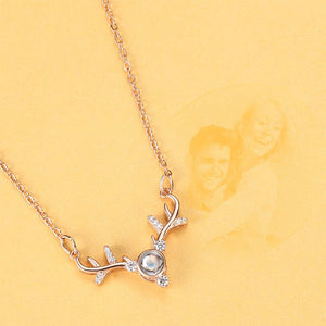 Personalized Projection Photo Antlers Necklace - Rose Gold