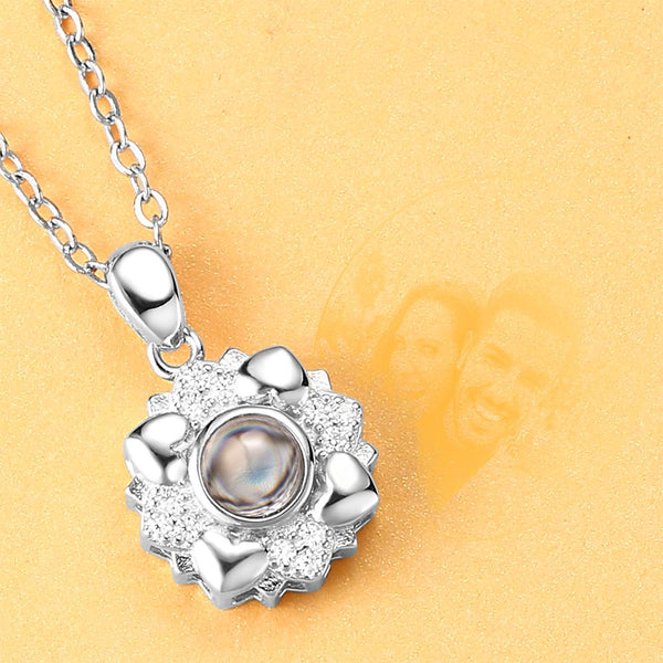 Personalized Projection Photo Four Little Heart Necklace - Silver