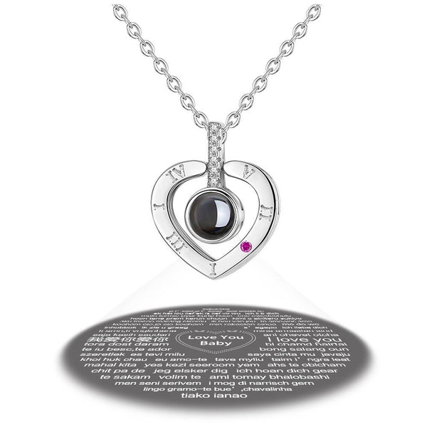 Personalized Engraved With 100 Languages Says I Love You Projection Necklace Heart-shaped Silver