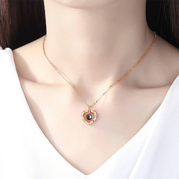 Personalized Photo With 100 Languages Says I Love You Projection Necklace Heart-shaped Rose Gold