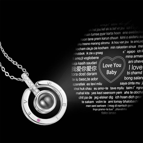 Personalized Engraved With 100 Languages Says I Love You Projection Necklace Round-shaped Silver