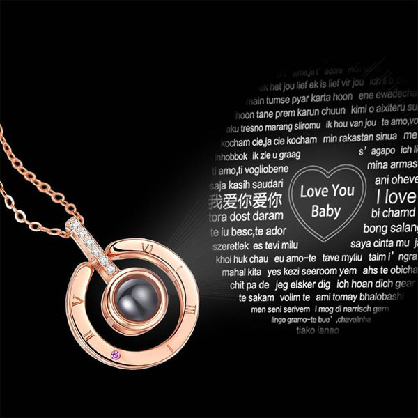 Personalized Engraved With 100 Languages Says I Love You Projection Necklace Round-shaped Rose Gold
