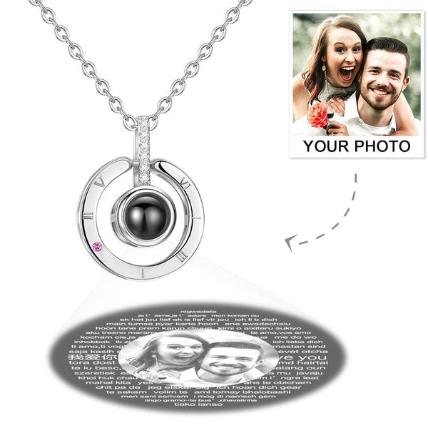 Personalized Photo With 100 Languages Says I Love You Projection Necklace Round-shaped Silver