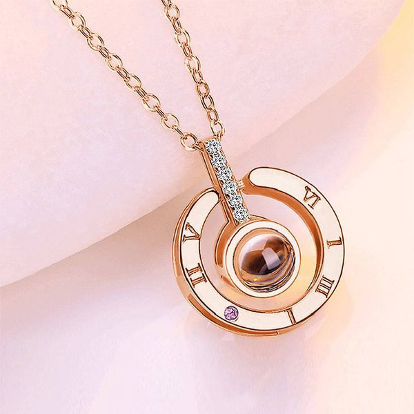 Personalized Photo With 100 Languages Says I Love You Projection Necklace Round-shaped Rose Gold