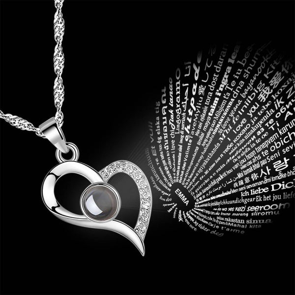 Personalized Engraved With 100 Languages Says I Love You Projection Necklace Love Your Heart Silver