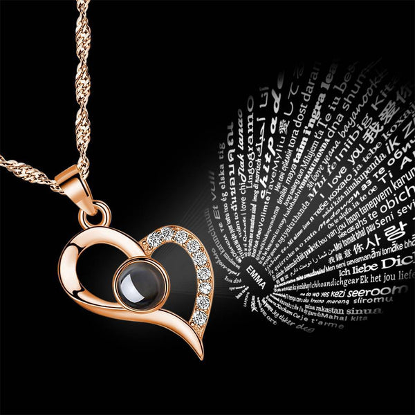 Personalized Engraved With 100 Languages Says I Love You Projection Necklace Love Your Heart Rose Gold