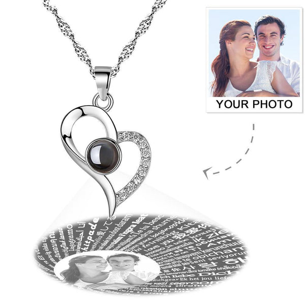 Personalized Photo With 100 Languages Says I Love You Projection Necklace Silver