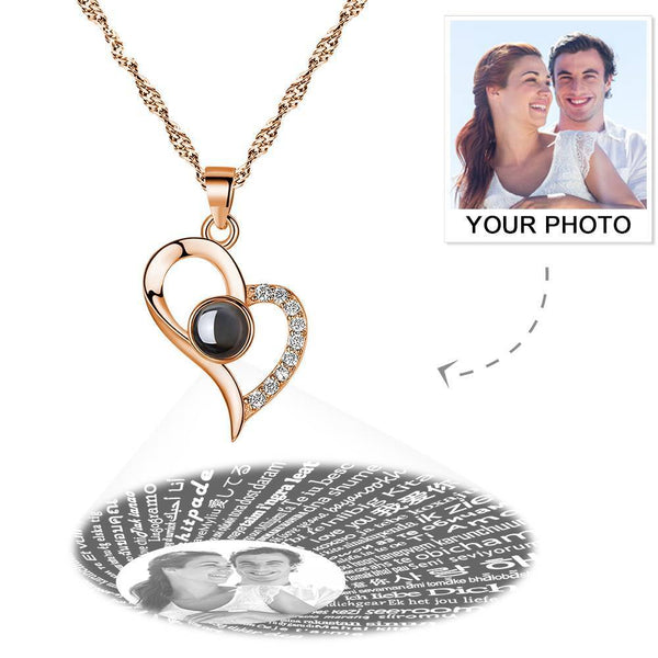 Personalized Photo With 100 Languages Says I Love You Projection Necklace Love Your Heart Rose Gold