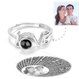 "Custom I Love You Ring Projection Photo Engraved Ring in 100 Languages, ""LOVE"" Ring Silver"