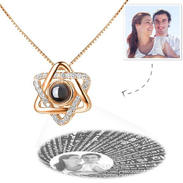 Custom I Love You Necklace in 100 Languages Projection Photo Engraved Necklace Six-star Rose Gold Plated - Silver