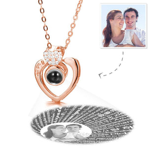 Personalized I Love You Necklace in 100 Languages Projection Photo Engraved Necklace Two Hearts Rose Gold Plated - Silver