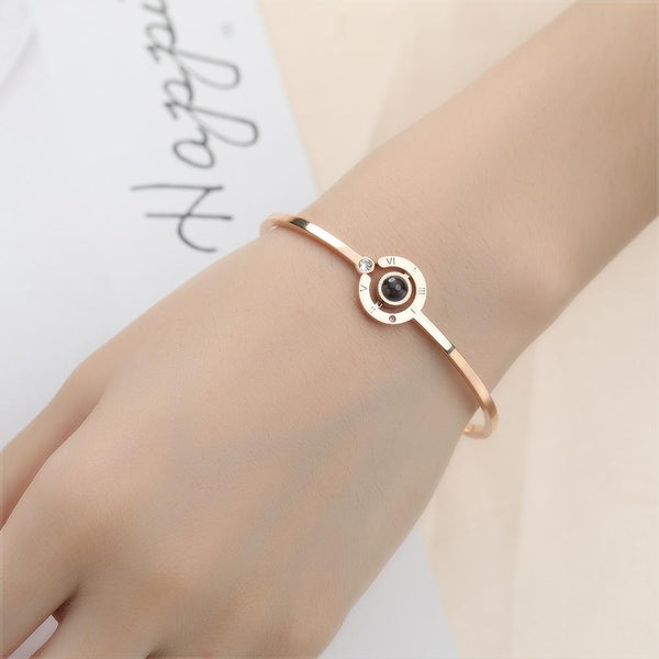 Love Memory Photo Bracelet Steel in Rose Gold Plated For Her