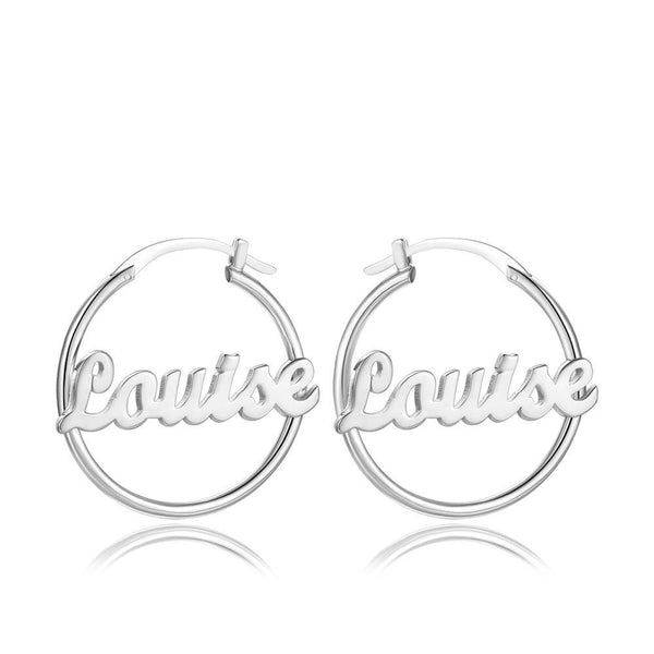 Custom Name Earrings Unique Gifts Platinum Plated