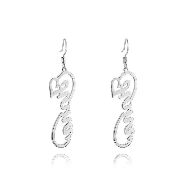 Personality Name Earrings, Infinity Earrings Platinum Plated