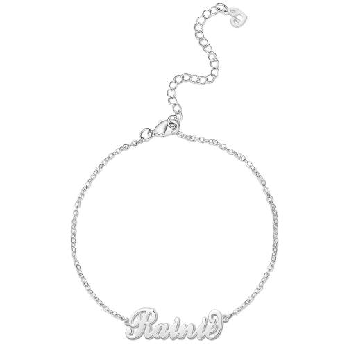 Custom Children's Name Anklet Platinum Plated - Length Adjustable