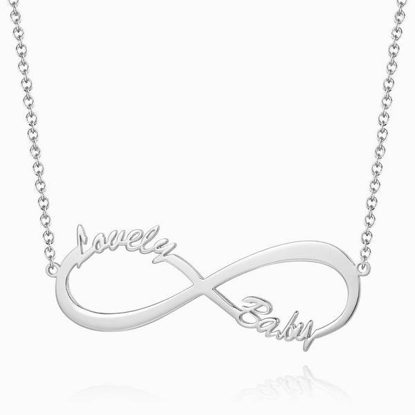 Personalized Gift Children's Infinity Name Necklace Platinum Plated