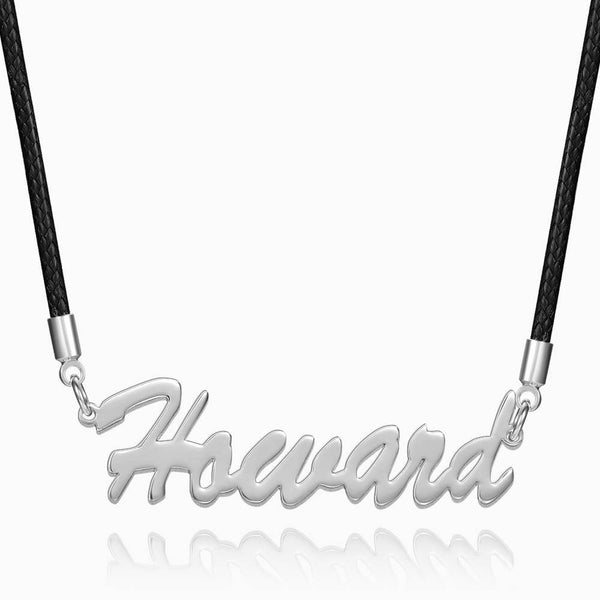 Personalized Boyfriend Gift Men's Name Necklace Platinum Plated Silver