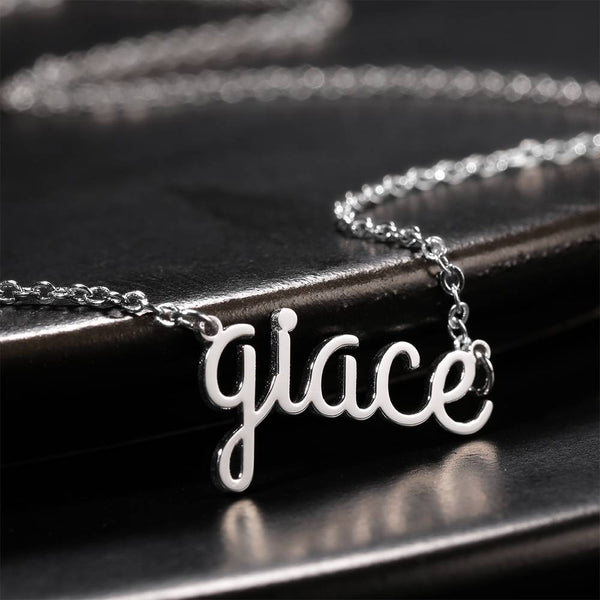 Personalized Lower Case Letter Name Necklace Silver