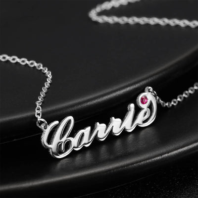 Personalized Birthstone Birthday Gift Name Necklace Platinum Plated Silver