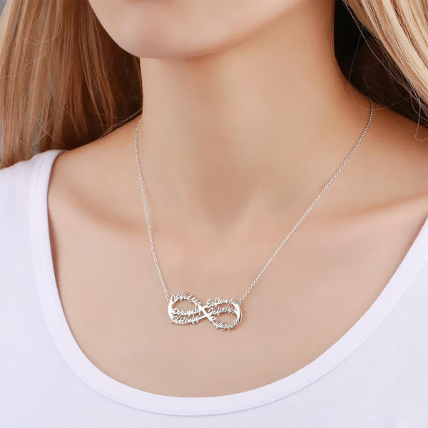 Infinity Six Name Necklace Copper in Silver