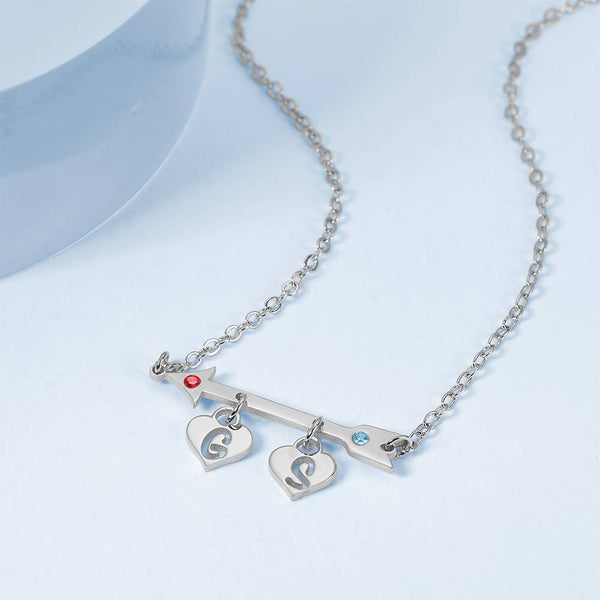 Arrow with Two Hearts Initial Birthstone Necklace Silver Plated -  Love Name Necklace