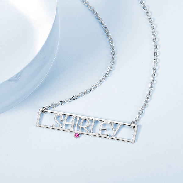 Hollow Carved Bar Name Necklace with Custom Birthstone Silver Plated