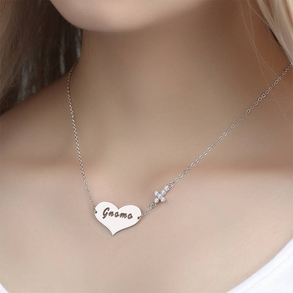 Hollow Letter with Cross Engraved Necklace Silver Plated