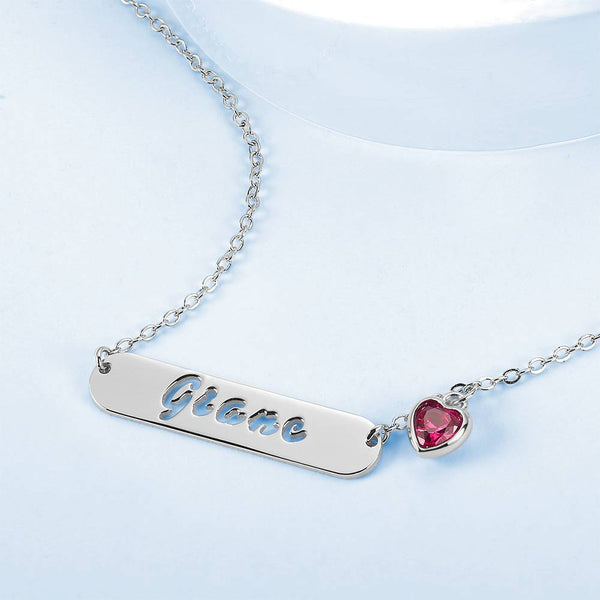 Hollow Carved Bar Name Necklace with Heart-shaped Birthstone Silver Plated