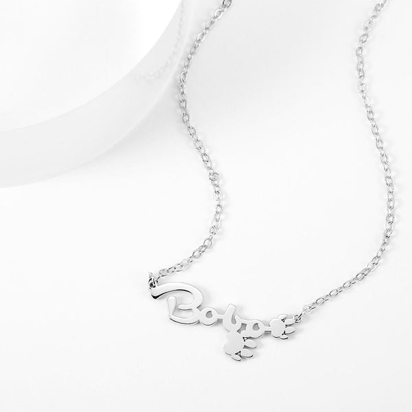 Personalized Name Necklace With Cute Footprint Silver