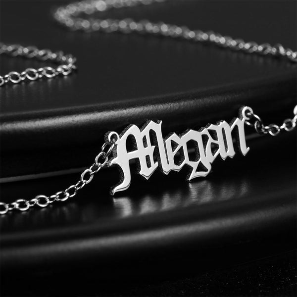 Personalized Old English Name Necklace Silver