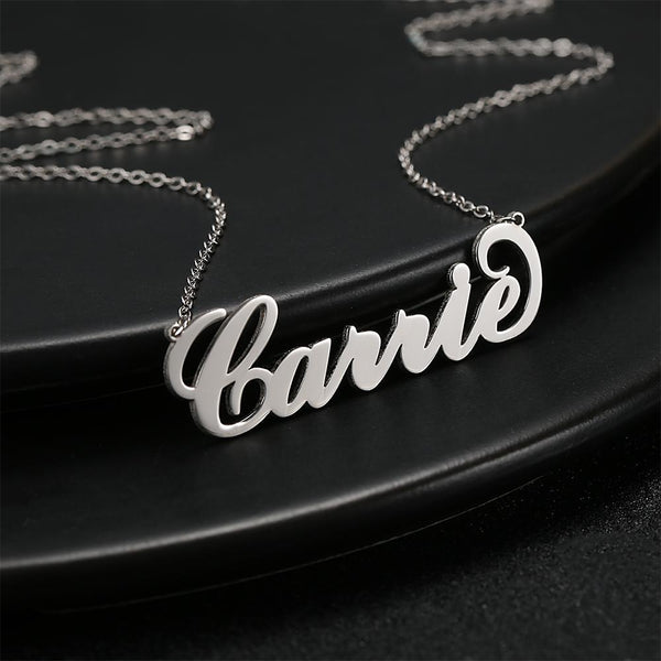 Personalized  Big Statement Large Name Necklace Platinum Plated Silver