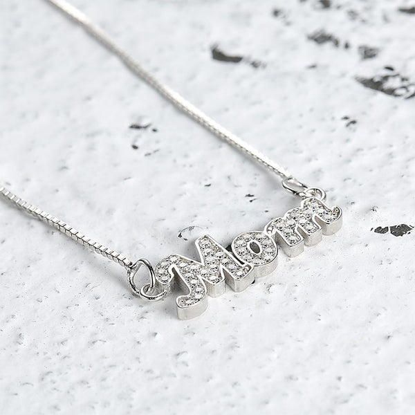 Personalized Name Neckalce Shining Zircon Stone Necklace in Silver Plated